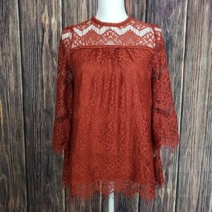 Rust Colored Lace Top